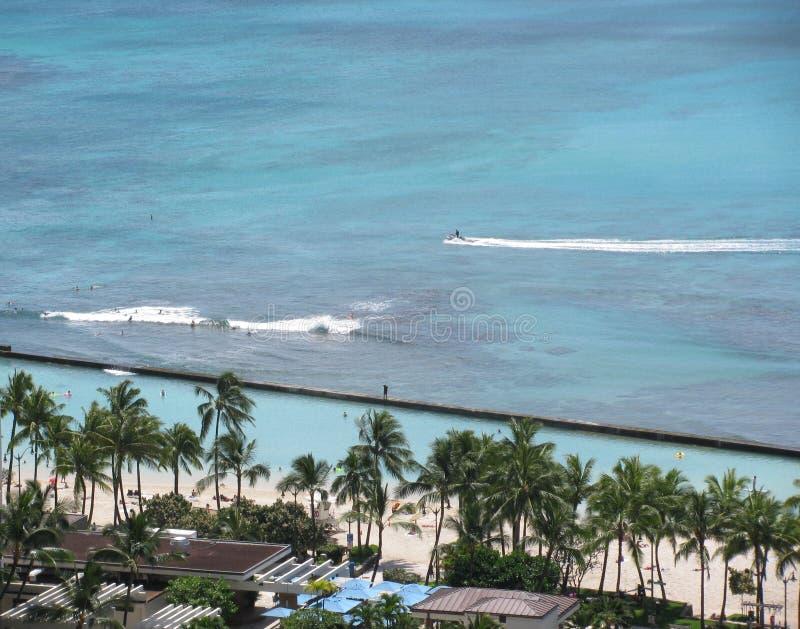 Vista aerea della spiaggia di Waikiki, Hawai immagine stock libera da diritti
