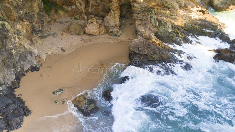 Vista aerea della spiaggia intima fotografie stock
