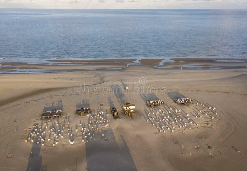 Vista aerea della spiaggia a Sankt Peter Ording, Germania fotografia stock