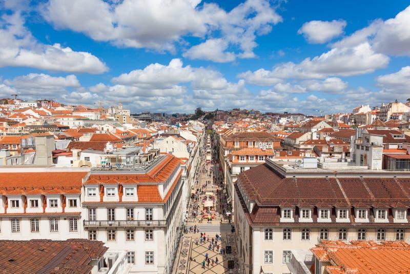 Vista aerea della via di Augusta vicino al quadrato di commercio a Lisbona, immagini stock libere da diritti