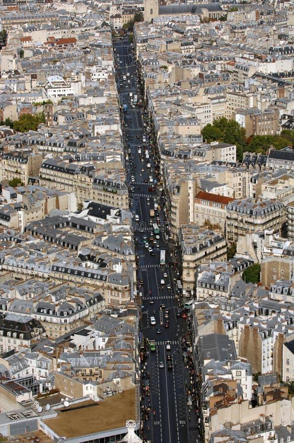 Vista aerea della via di Parigi immagine stock