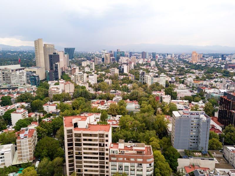 Vista aerea della vicinanza di Città del Messico Polanco immagine stock