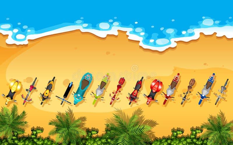 Vista aerea delle bici su una spiaggia illustrazione vettoriale
