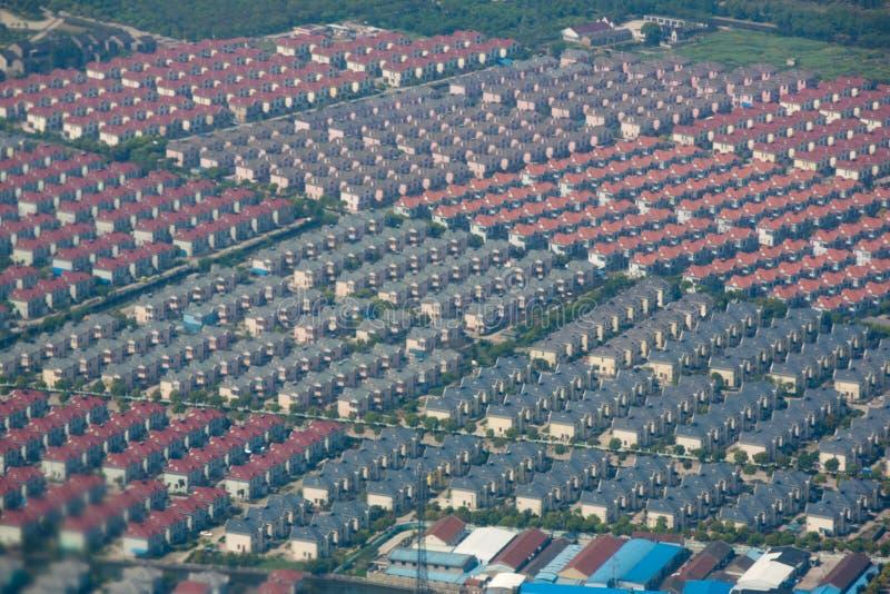 Vista aerea delle case residenziali fotografia stock libera da diritti