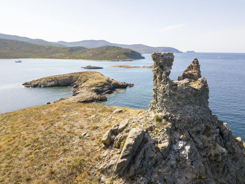 Vista aerea delle isole di Finocchiarola, Mezzana, Tellus, penisola di Cap Corse, Corsica fotografia stock libera da diritti