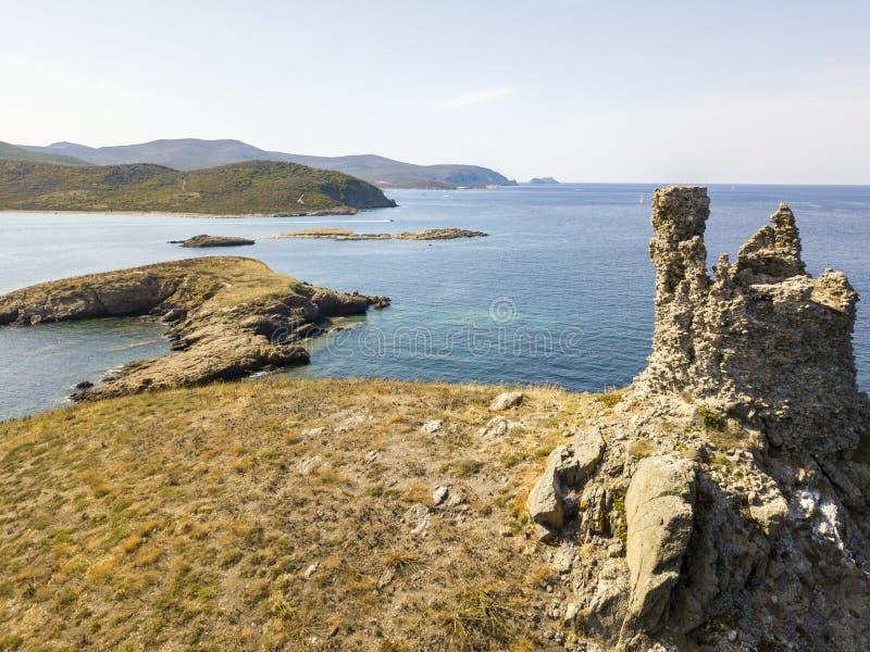 Vista aerea delle isole di Finocchiarola, Mezzana, Tellus, penisola di Cap Corse, Corsica immagine stock libera da diritti