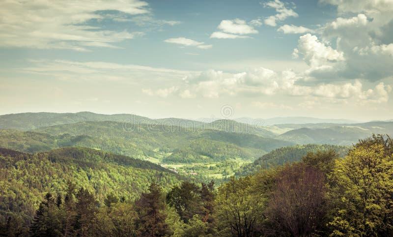 Vista aerea delle montagne di carpathians fotografia stock libera da diritti