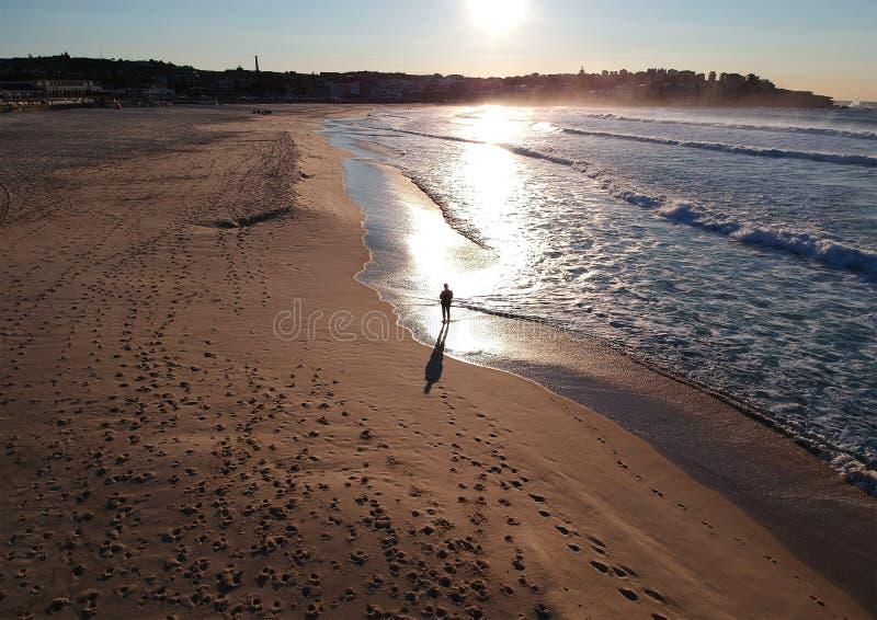 Vista aerea delle onde di oceano che lavano sulla spiaggia immagini stock libere da diritti