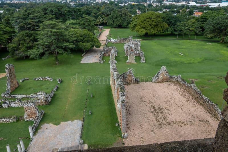 Vista aerea delle rovine del Panama Viejo - Panamá, Panama fotografie stock