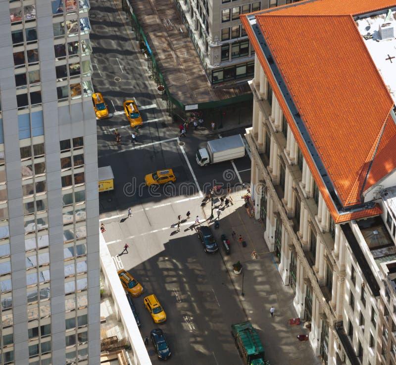 Vista aerea delle vie di Manhattan fotografia stock libera da diritti