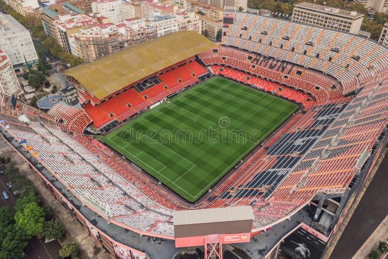Vista aerea dello stadio di Mestalla fotografie stock libere da diritti