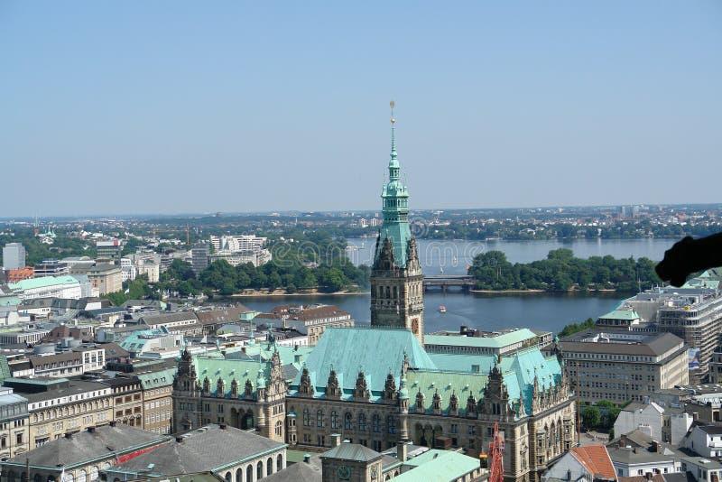 Vista aerea di Amburgo fotografia stock libera da diritti