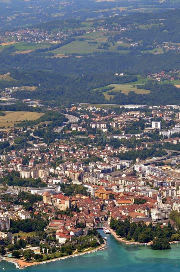 Vista aerea di Annecy e del suo lago fotografia stock