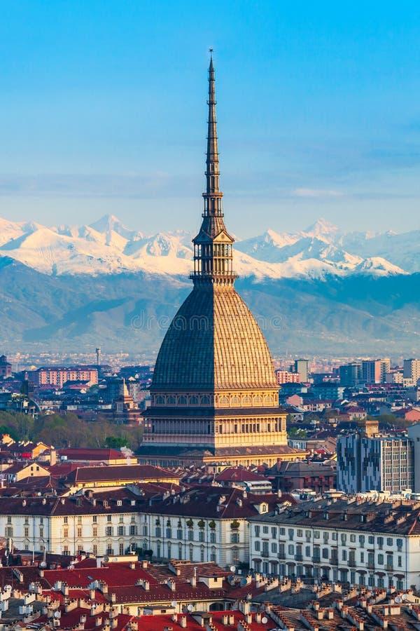 Vista aerea di Antonelliana della talpa, Torino fotografia stock