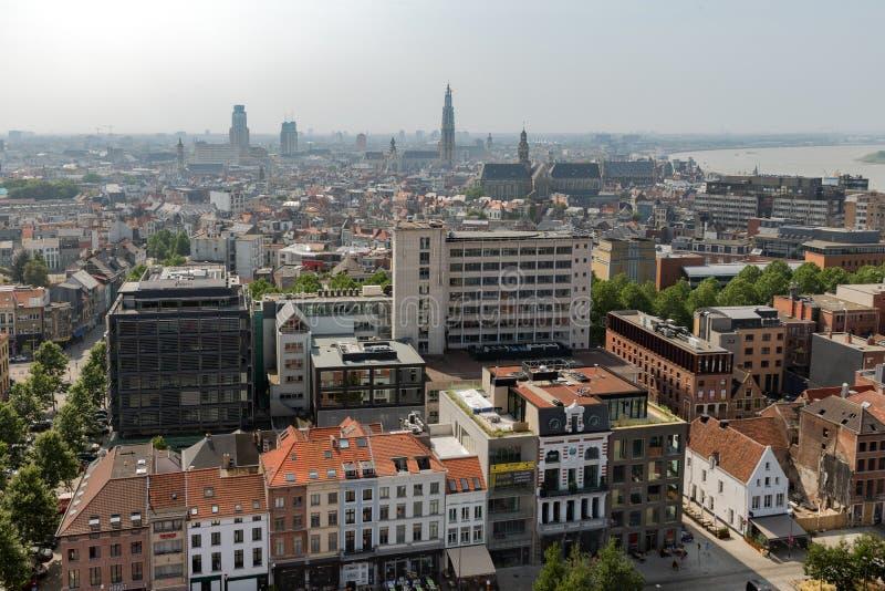 Vista aerea di Anversa dal terrazzo del tetto di MAS del museo, Belgio immagine stock libera da diritti