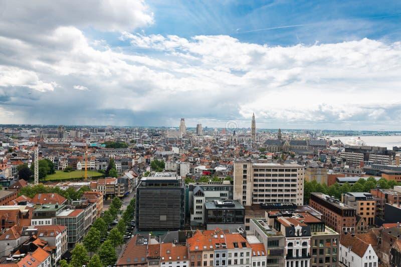 Vista aerea di Anversa nel porto di Anversa immagini stock