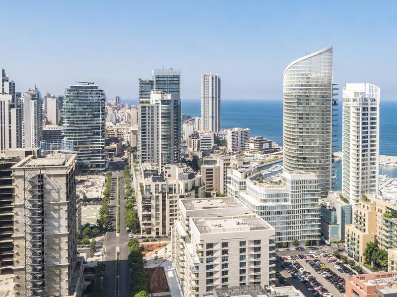 Vista aerea di Beirut Libano, città paesaggio urbano di Beirut, Beirut immagini stock libere da diritti
