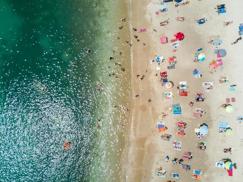Vista aerea di bella spiaggia caraibica di estate fotografia stock libera da diritti