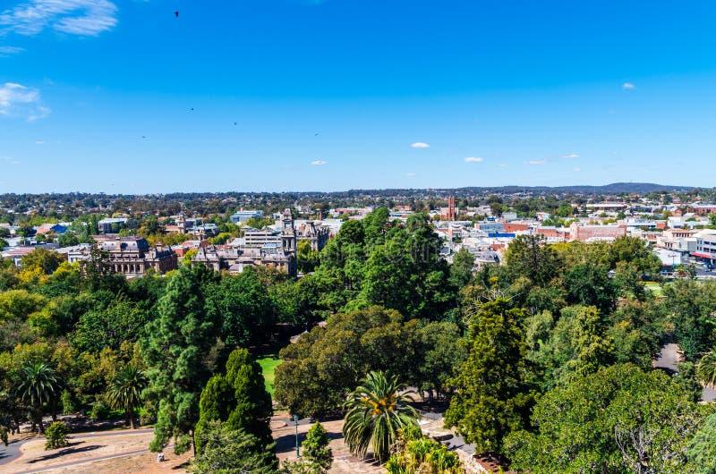Vista aerea di Bendigo centrale, Australia immagini stock