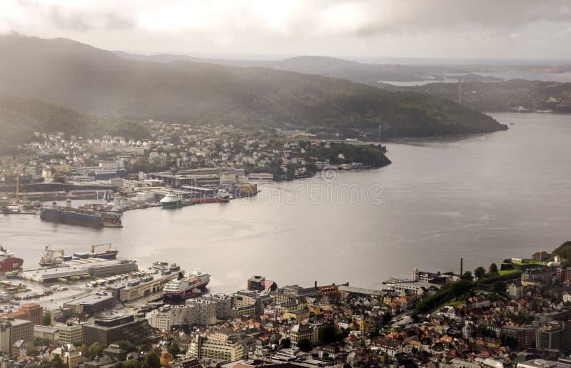 Vista aerea di Bergen fotografia stock