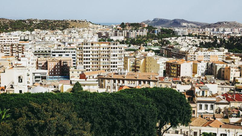 Vista aerea di Cagliari, Italia immagine stock