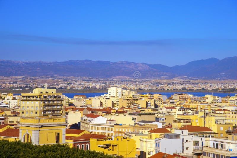Vista aerea di Cagliari, in Sardegna, l'Italia fotografia stock