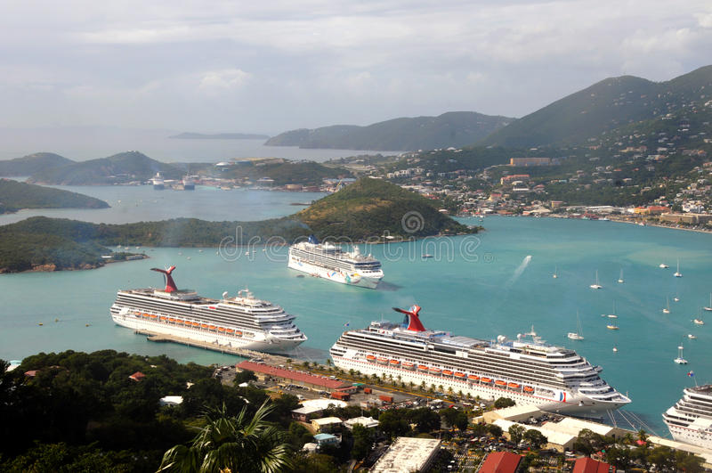 Vista aerea di Charlotte Amalie, Stati Uniti Isole Vergini fotografia stock