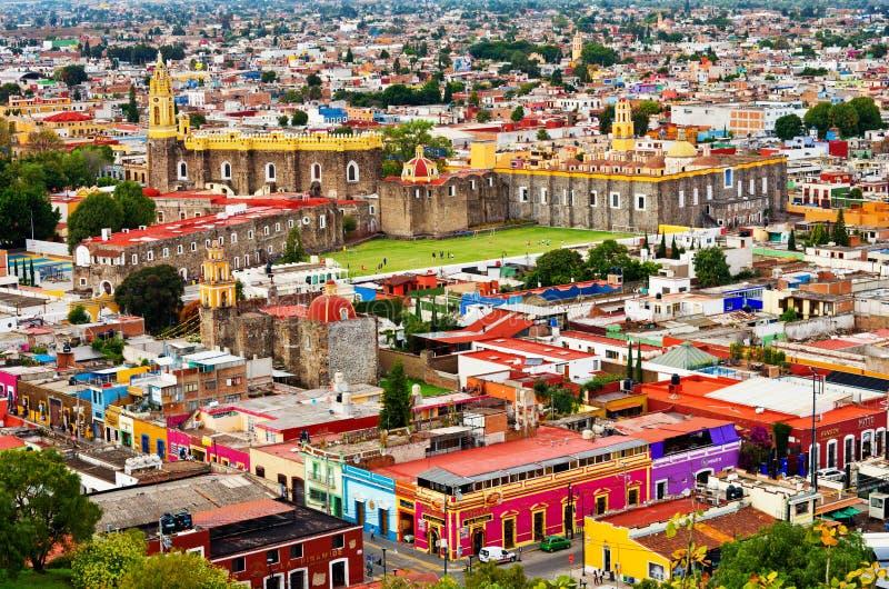 Vista aerea di Cholula a Puebla, Messico fotografia stock