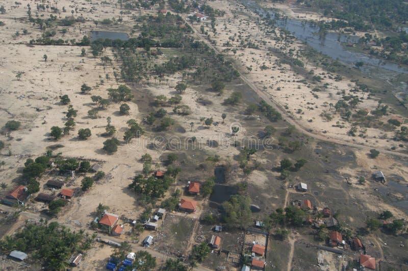 Vista aerea di danno dei tsunami fotografie stock libere da diritti