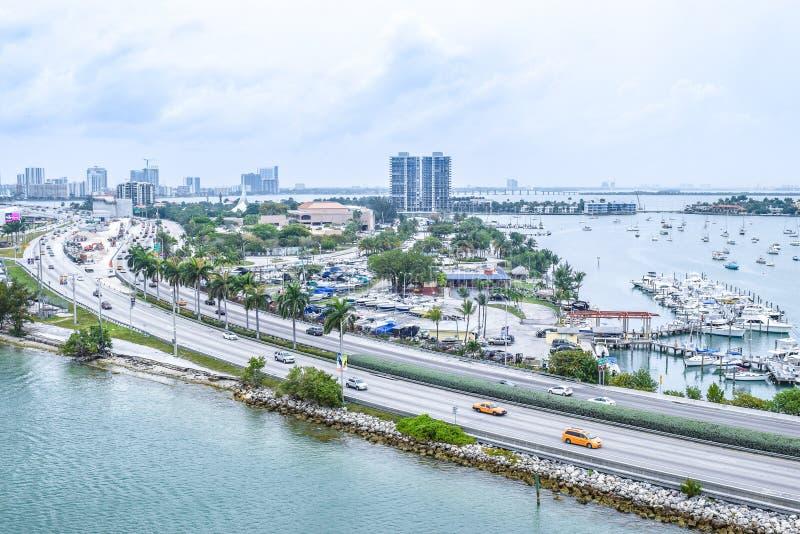 Vista aerea di vista del cielo di vista del fuco di Miami del centro fotografie stock