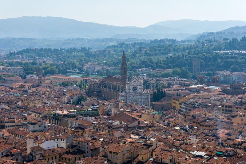 Vista aerea di Firenze con Santa Croce Basilica fotografia stock libera da diritti