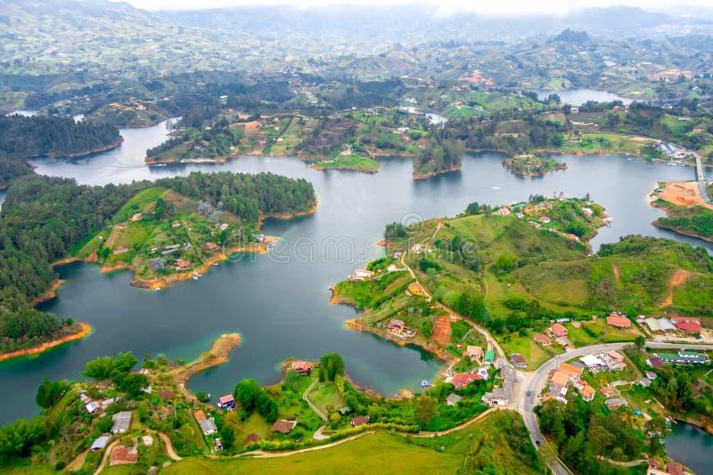 Vista aerea di Guatape in Antioquia, Colombia fotografia stock