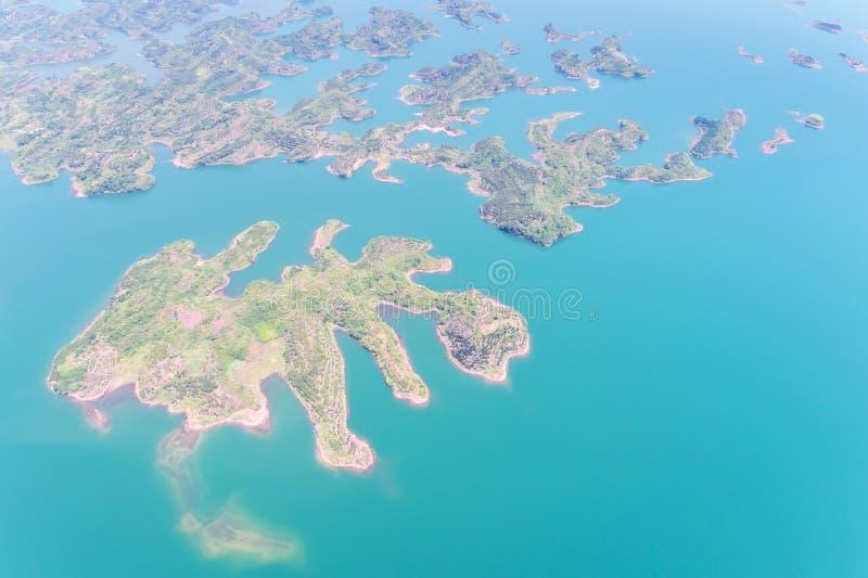 Vista aerea di Hangzhou mille laghi dell'isola immagine stock libera da diritti