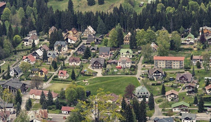 Vista aerea di Harrachov fotografie stock