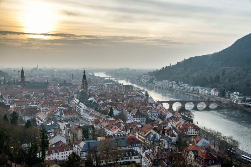 Vista aerea di Heidelberg al tramonto immagine stock libera da diritti