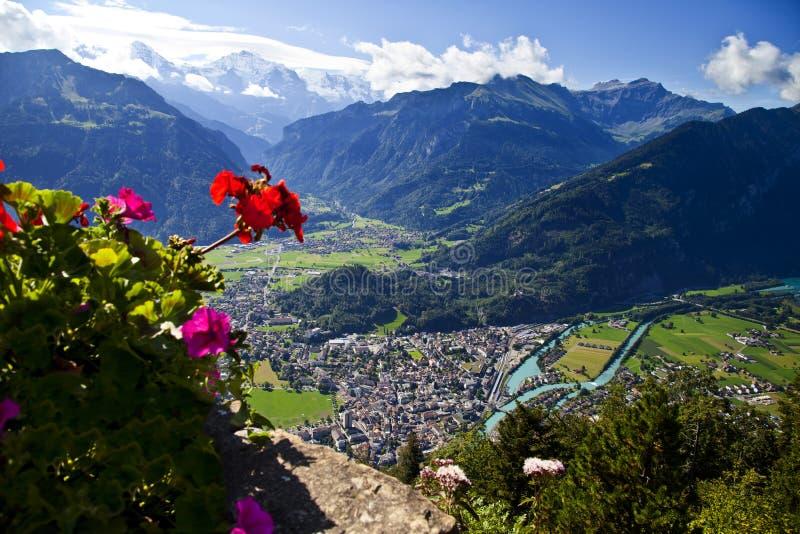 Vista aerea di Interlaken fotografia stock libera da diritti