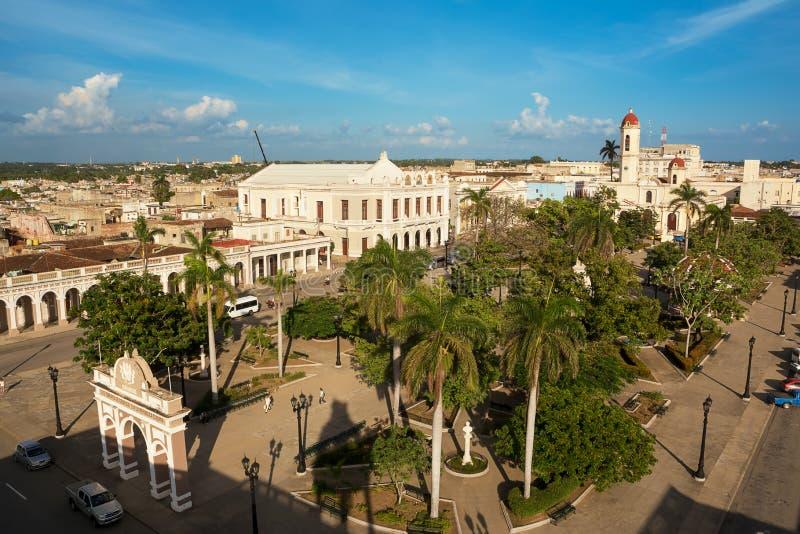 Vista aerea di Jose Marti Square in Cienfuegos Cuba immagine stock libera da diritti