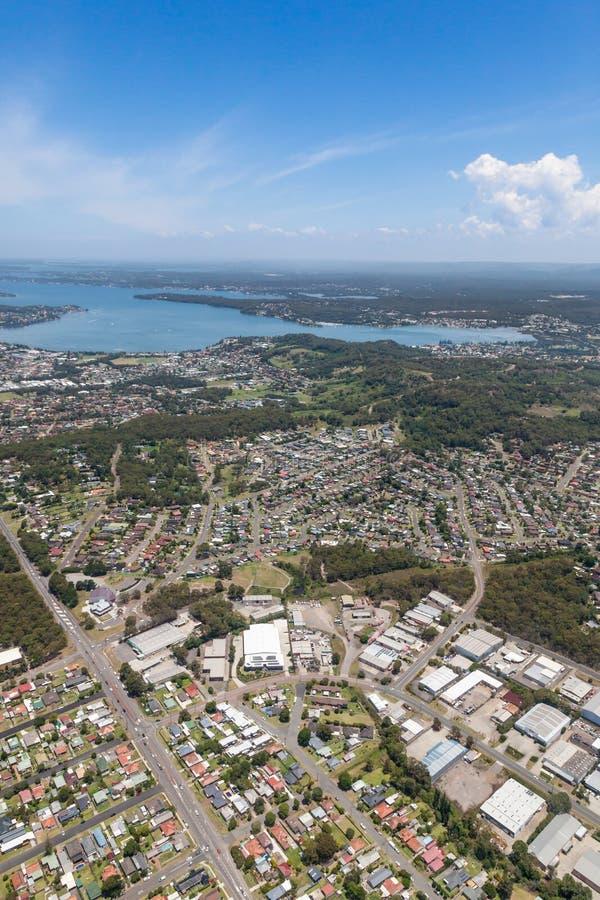 Vista aerea di Lake Macquarie - NSW Australia fotografie stock