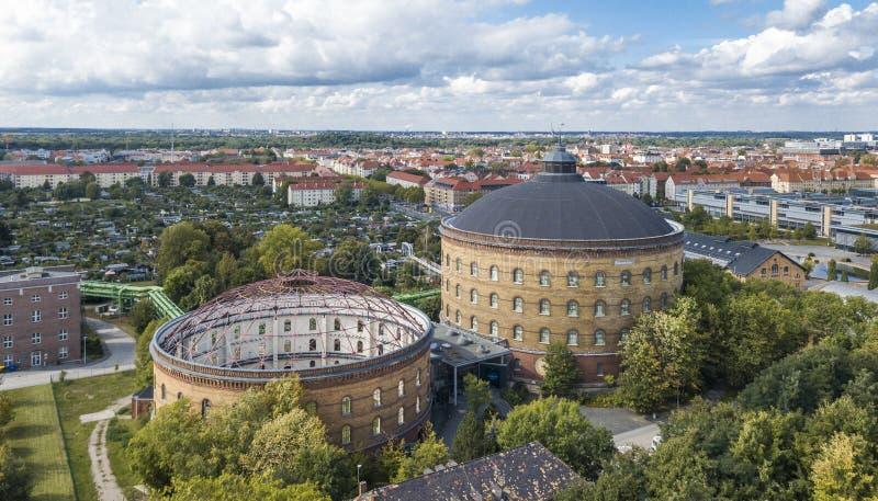 Vista aerea di Lipsia Panometer immagini stock