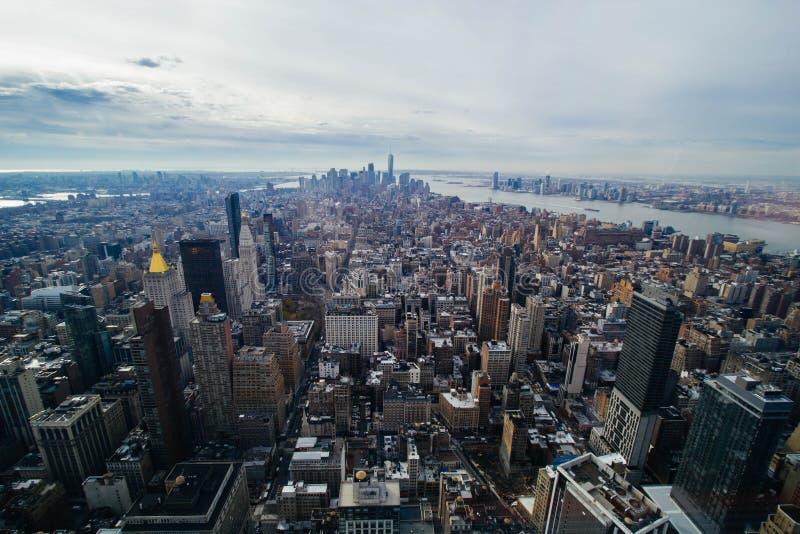 Vista aerea di lungomare di Manhattan fotografie stock libere da diritti