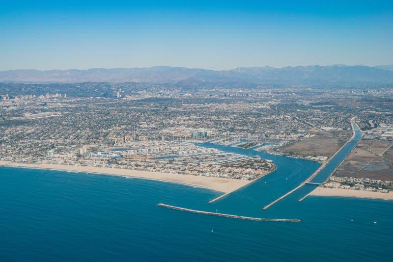 Vista aerea di Marina Del Rey e di Playa Del Rey immagine stock