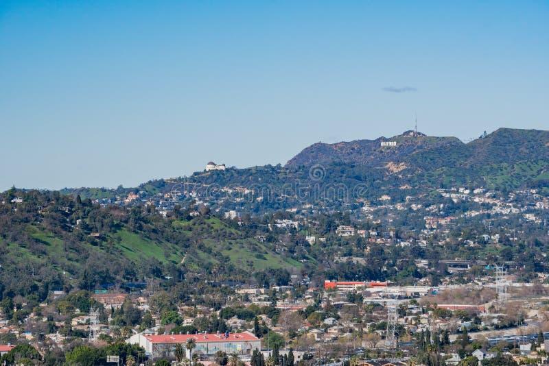 Vista aerea di mattina dell'area della città di Los Angeles fotografie stock libere da diritti