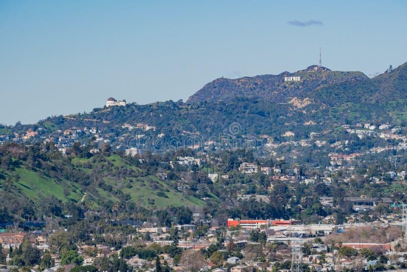 Vista aerea di mattina dell'area della città di Los Angeles immagini stock libere da diritti