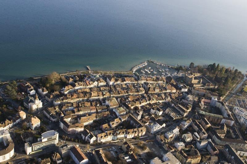 Vista aerea di Morges, Svizzera immagine stock