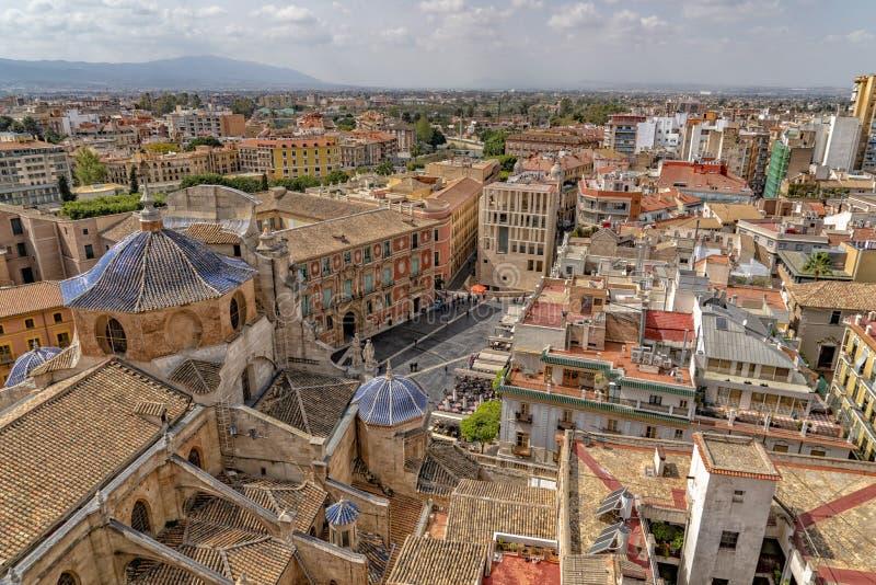 Vista aerea di Murcia dalla torre della cattedrale fotografie stock libere da diritti