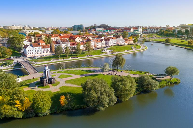 Vista aerea di Nemiga, Minsk belarus fotografia stock libera da diritti