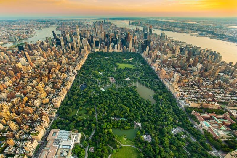 Vista aerea di New York Central Park di estate fotografie stock