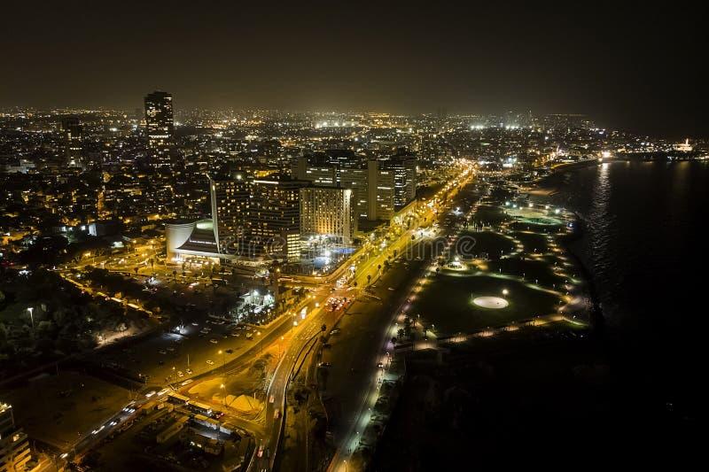 Vista aerea di notte del telefono Aviv City immagini stock