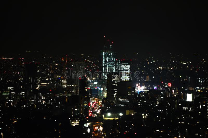 Vista aerea di notte di Tokyo fotografie stock
