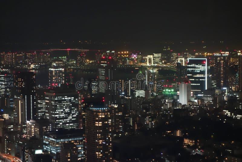 Vista aerea di notte di Tokyo immagine stock libera da diritti